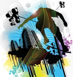 skateboarder and an urban back vector image vector image