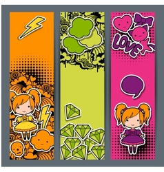 Vertical banners with sticker kawaii doodles vector image vector image