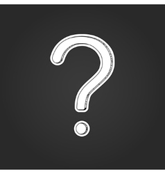 White question mark with shadow on black vector image vector image