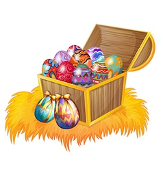 A wooden box with easter eggs vector image vector image