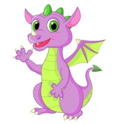 Cute baby dragon cartoon waving vector