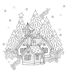 cute christmas fairy tale village doodle vector image vector image