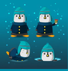 penguin christmas cartoon character set vector image
