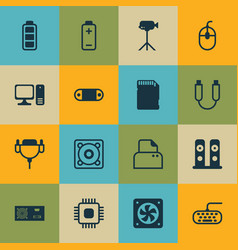 set of 16 computer hardware icons includes memory vector image vector image
