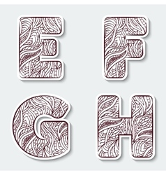 Set of capital letters E F G H from the vector image vector image