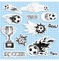 Set of sketch soccer stickers vector image