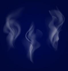 Smoke set isolated on dark background vector