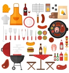 BBQ barbecue icons vector image
