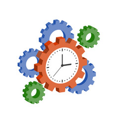 clock with cogwheels time management symbol flat vector image vector image