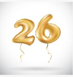 Golden number 26 twenty six metallic balloon vector