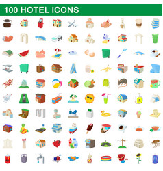 100 hotel icons set cartoon style vector image