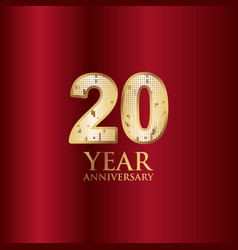 20 year anniversary gold with red background vector