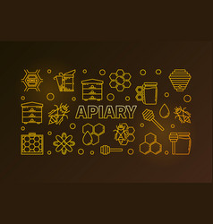 apiary and beekeeping colored linear vector image