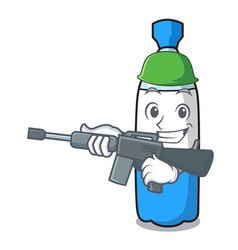 Army water bottle character cartoon vector