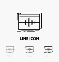 Audio frequency hertz sequence wave icon in thin vector