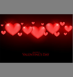 beautiful valentines day glowing red hearts on vector image