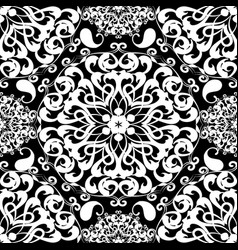Black and white paisley seamless mandala pattern vector