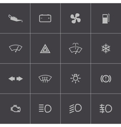 black car dashboard icons set vector image