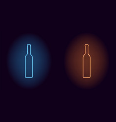 blue and orange neon wine bottle vector image
