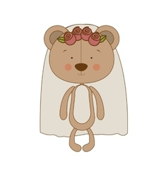 Bride teddy bear character icon image vector