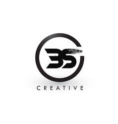 Bs brush letter logo design creative brushed vector