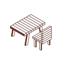 camping and picnic table isometric icon vector image