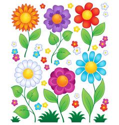 Cartoon flowers collection 3 vector