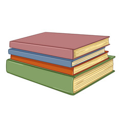 cartoon - stack hardcover books vector image