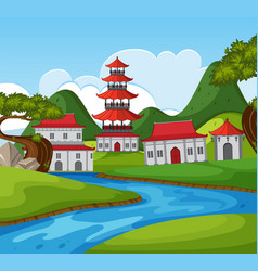Chinese theme background with many buildings by vector