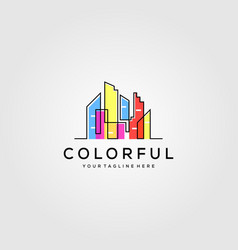 colorful building logo design vector image