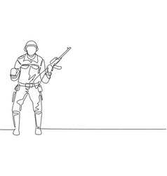 Continuous one line drawing soldier stands vector