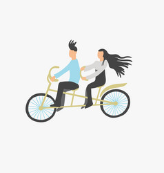 couple young people ride a double city bike vector image