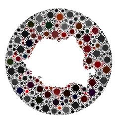 covid19 virus stencils round romania map mosaic vector image