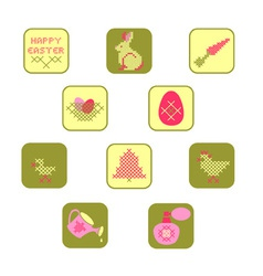 Cross stitch easter icon set vector