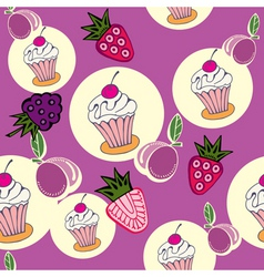 cupcake berries pattern vector image