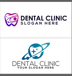 Dental clinic with tooth planet icon logo vector