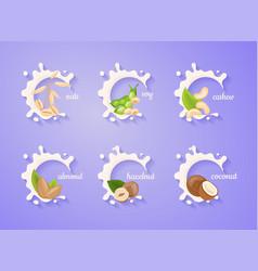 different variation plant based milk nuts set vector image