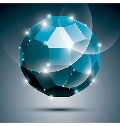 Dimensional blue sparkling disco ball abstract vector