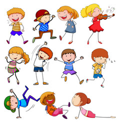 doodle children with different activity vector image