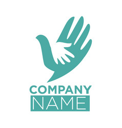 dove bird symbol of hand in hands icon vector image