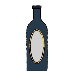 Drawing blue bottle wine cap blank label vector
