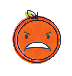 Emoji - furious orange isolated vector