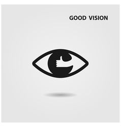 Eye Icon and Hand sign vector image