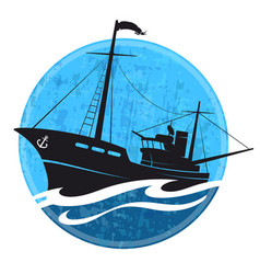 fishing boat silhouette on the wave vector image