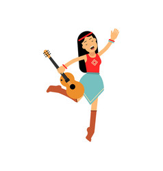 flat cartoon woman hippie female with long brown vector image