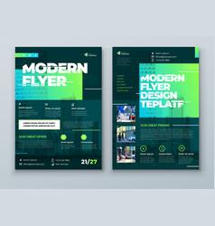Flyer design green modern flyer background design vector