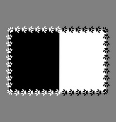 frame paw prints on black and white background vector image
