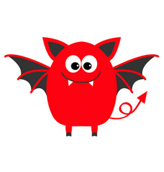 Funny monster with fang tooth and wings cute vector