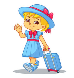 Girl traveling with her travel bag vector