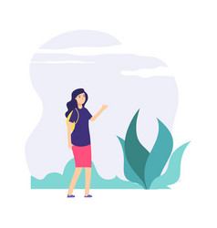 girl walking outdoor good weather cloudy day vector image